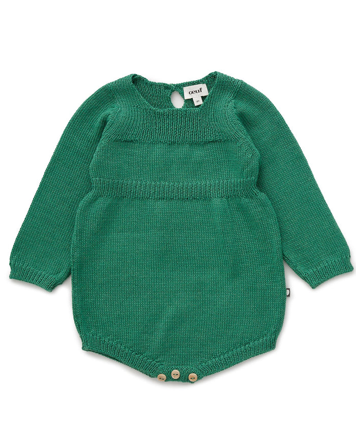 Little oeuf baby girl knit romper in grass green