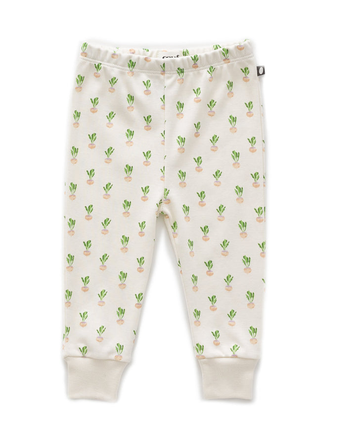 Little oeuf layette leggings in gardenia