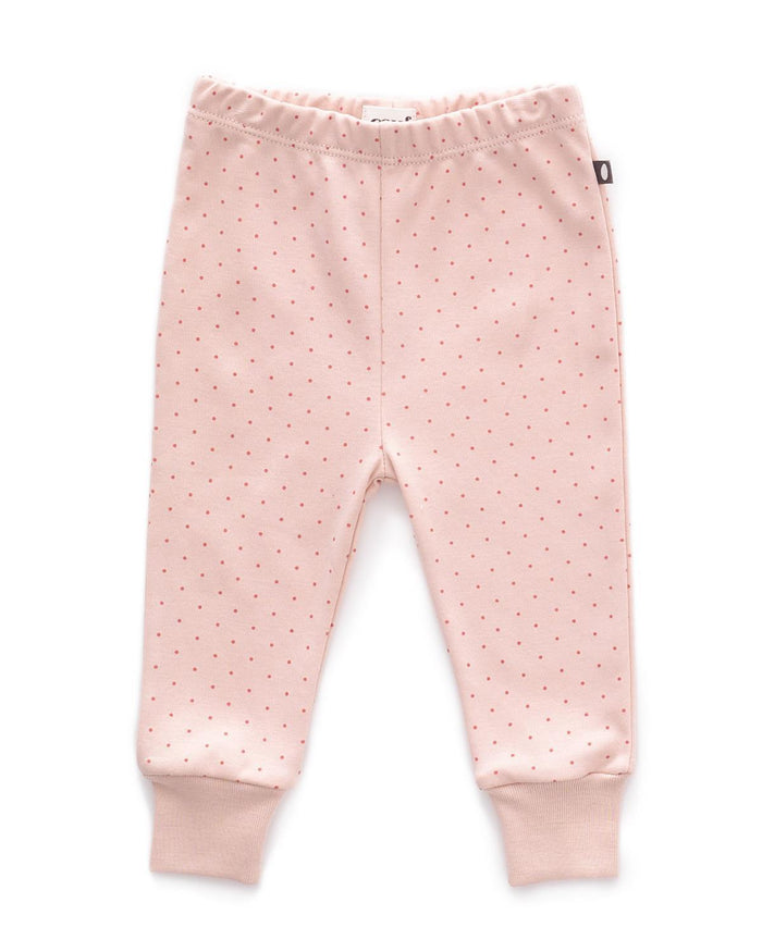 Little oeuf layette 3m leggings in light pink + rust dots