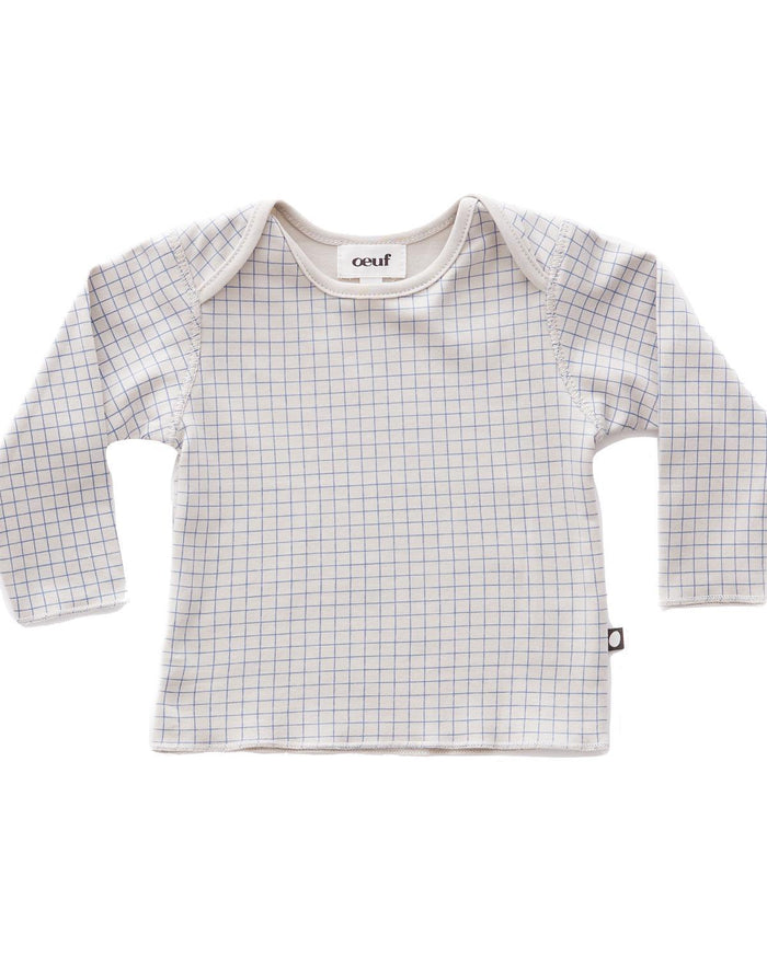 Little oeuf layette 3m long sleeve tee in light grey + blue checks