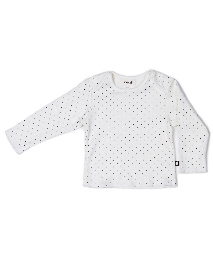 Little oeuf layette 3m Long Sleeve Tee in White + Indigo Dots