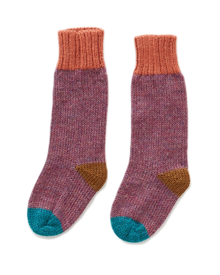 Little oeuf accessories long socks in mauve multi