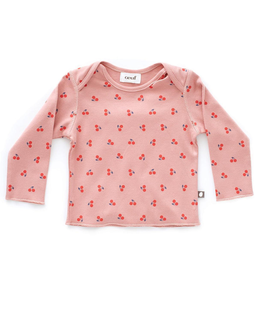Little oeuf layette 3m LS Tee in Dark Pink + Cherries