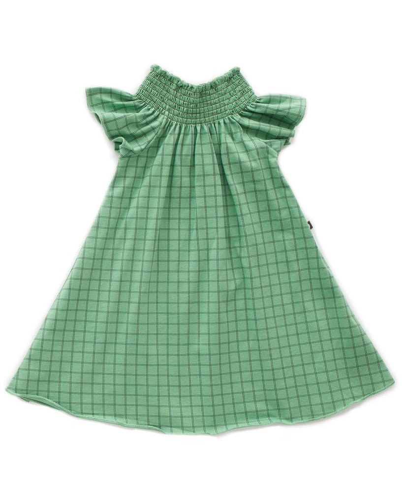 Little oeuf girl peasant dress in green checks