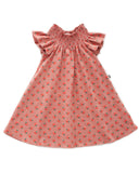 Little oeuf girl peasant dress in tomato print + rose dawn