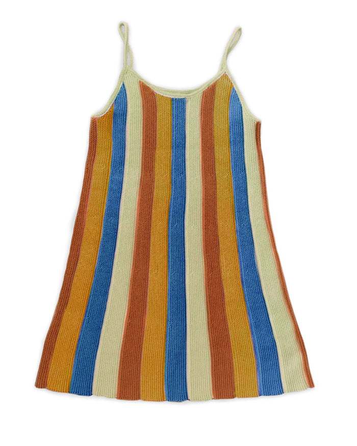 Little oeuf girl pleated dress in sky blue + stripes