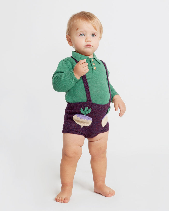 Little oeuf baby girl pocket shorts in mauve