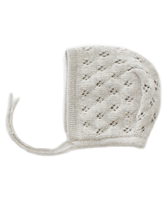 Little oeuf baby accessories pointelle bonnet in grey