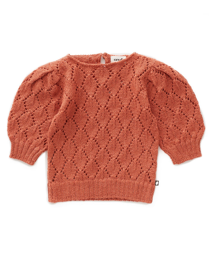 Little oeuf girl pointelle top in apricot