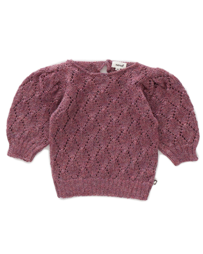 Little oeuf girl pointelle top in mauve