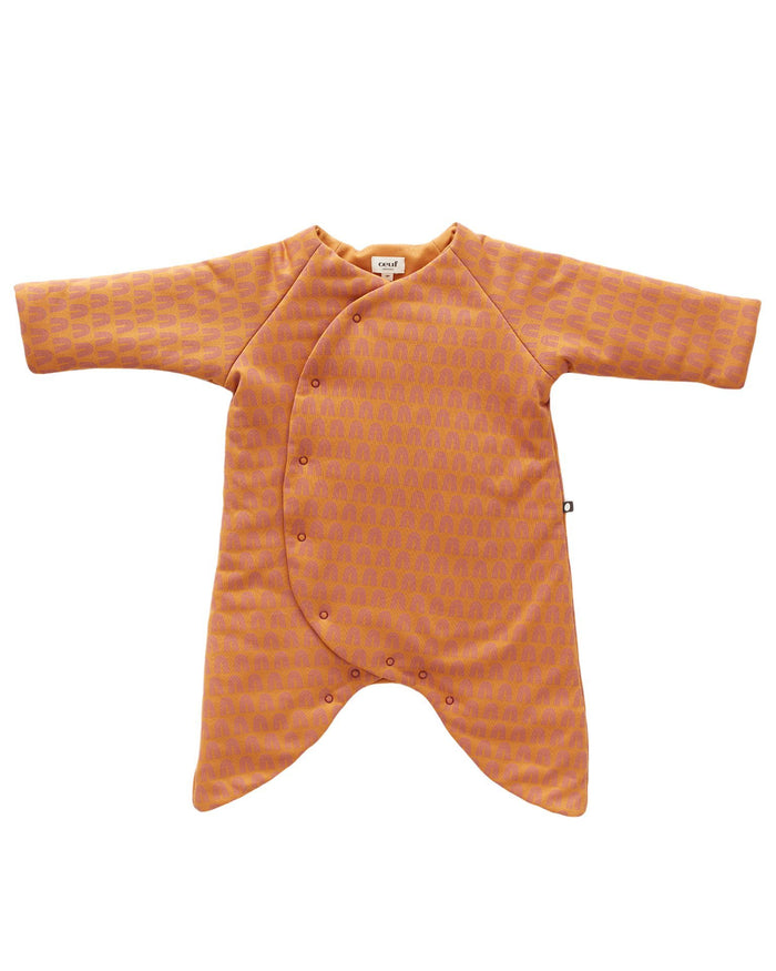 Little oeuf baby girl puffy kimono jumper in ochre + rainbows