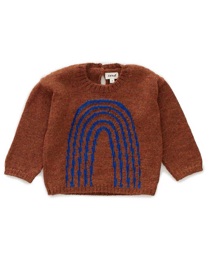 Little oeuf girl rainbow sweater in hazelnut + electric blue
