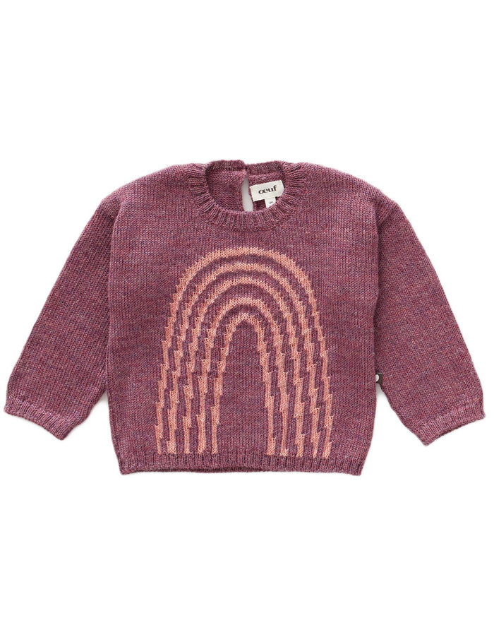 Little oeuf girl rainbow sweater in mauve + peony