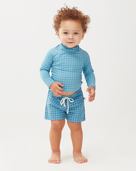 Little oeuf girl rash guard in blue checks
