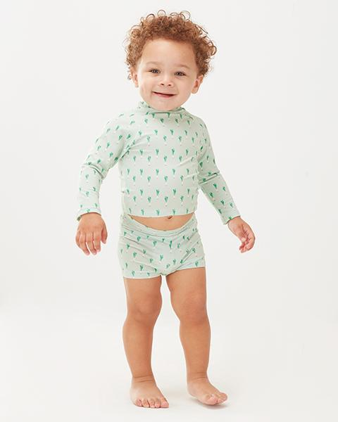 Little oeuf girl rash guard in leek print