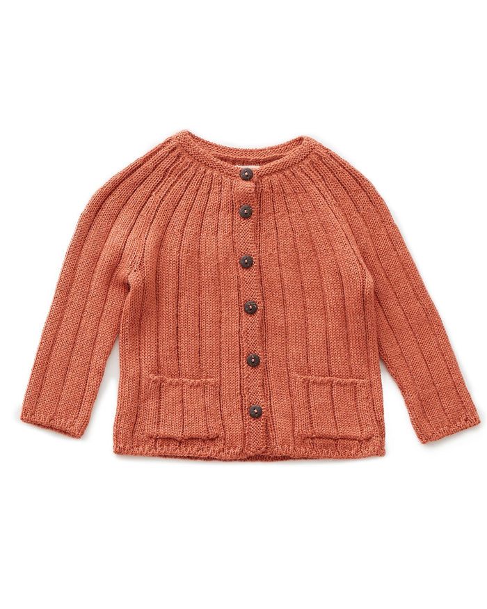 Little oeuf girl ribbed cardi in apricot