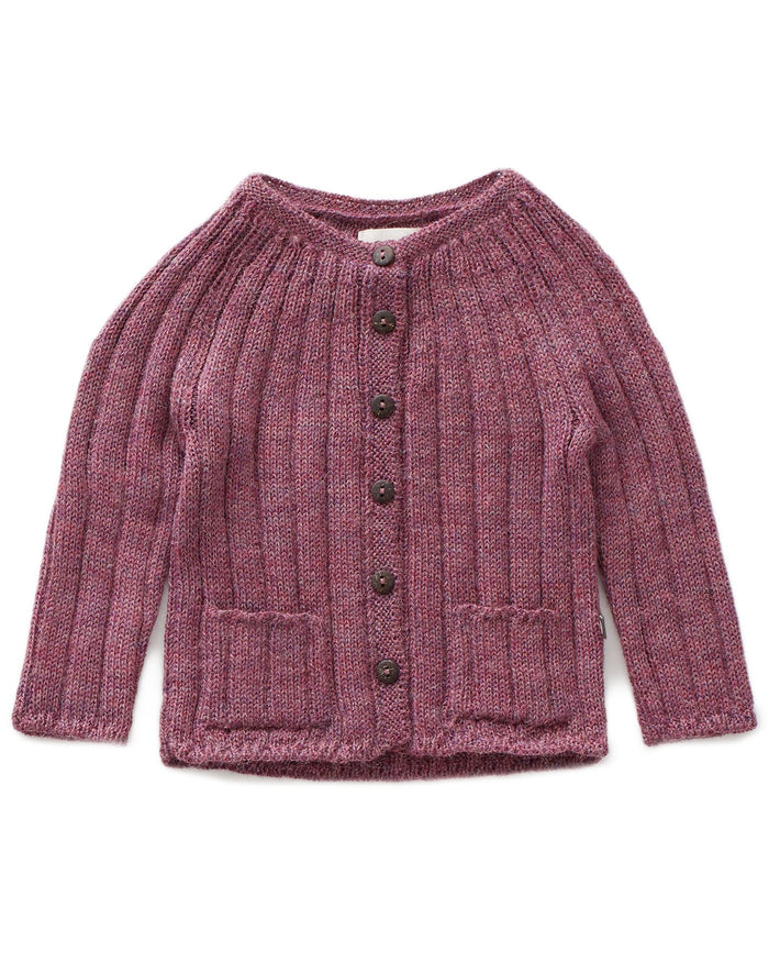 Little oeuf girl ribbed cardi in mauve