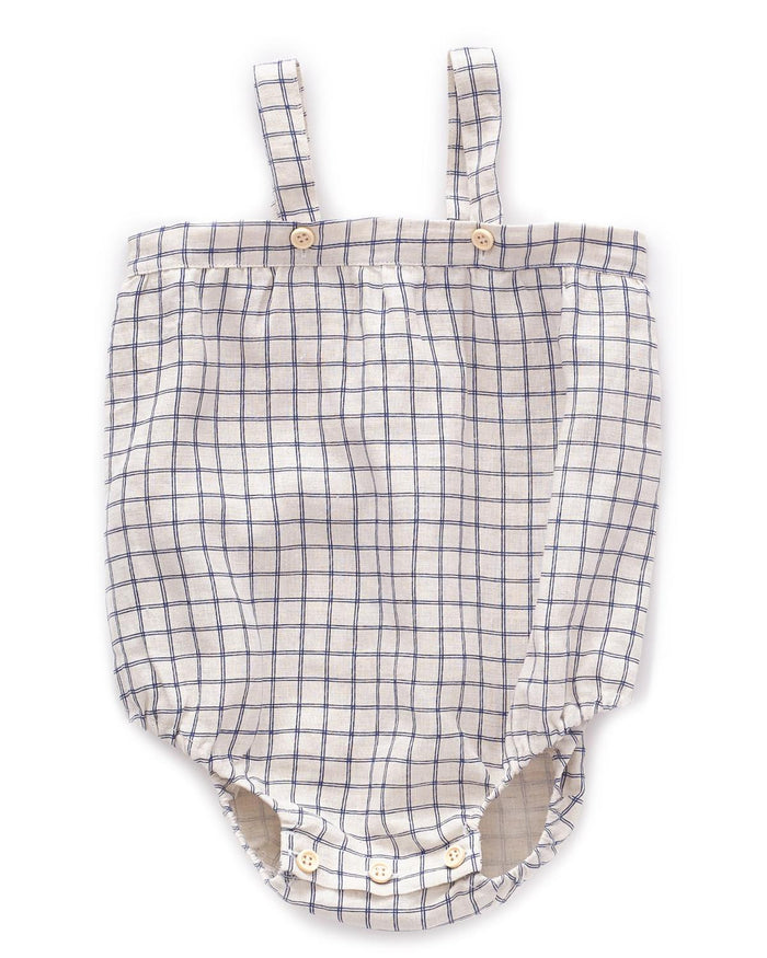 Little oeuf baby girl 6m romper with straps in blue checks