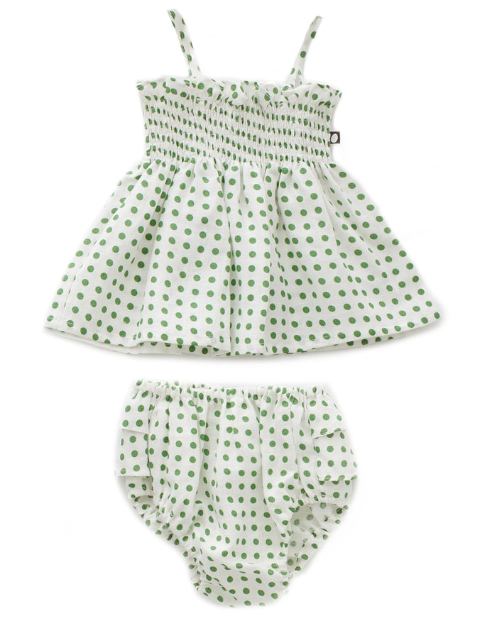 Little oeuf baby girl, girl ruffle bloomer set in green dots