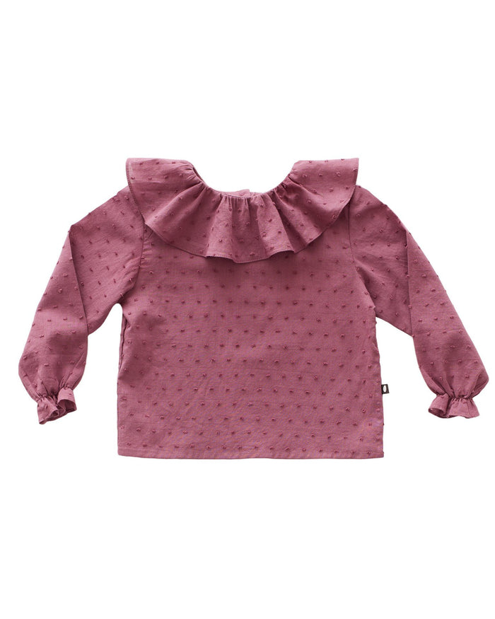 Little oeuf girl ruffle blouse in mauve