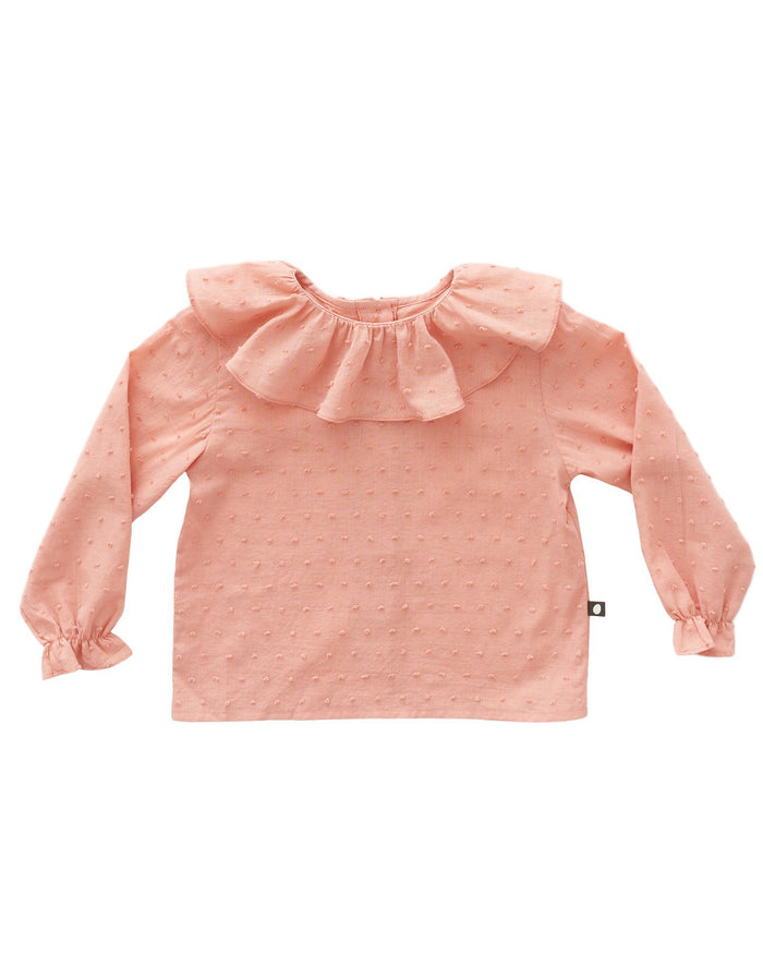 Little oeuf girl ruffle blouse in pink
