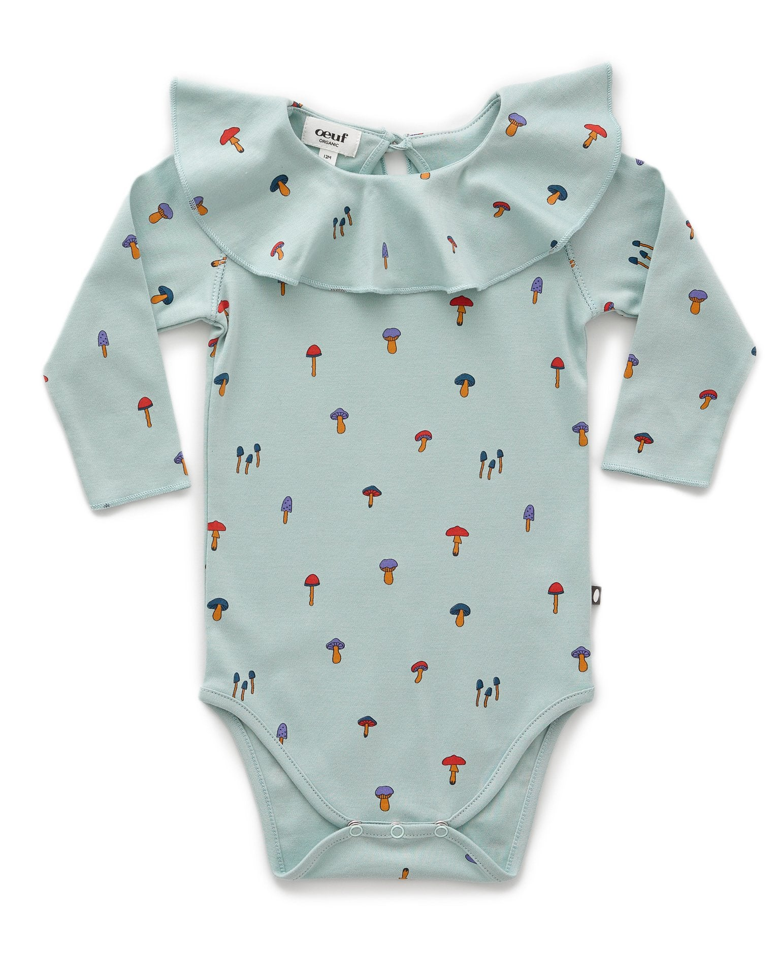 Little oeuf layette ruffle collar onesie in sky grey