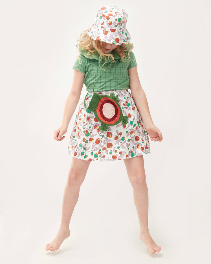 Little oeuf girl ruffle collar tee in green checks