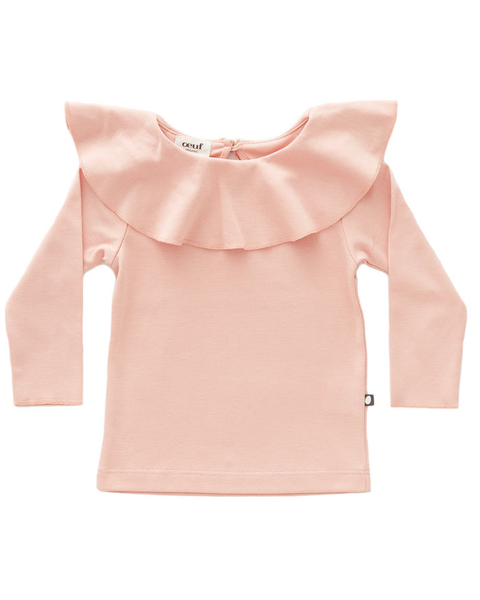 Little oeuf girl ruffle collar tee in pink