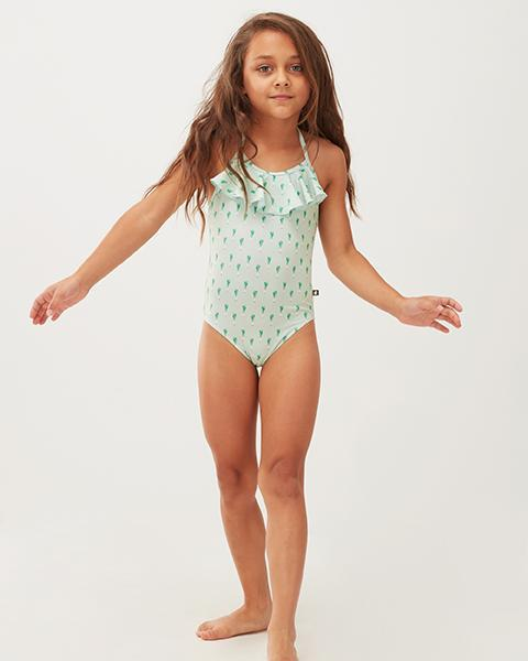 Little oeuf girl ruffle halter swimsuit in leek print