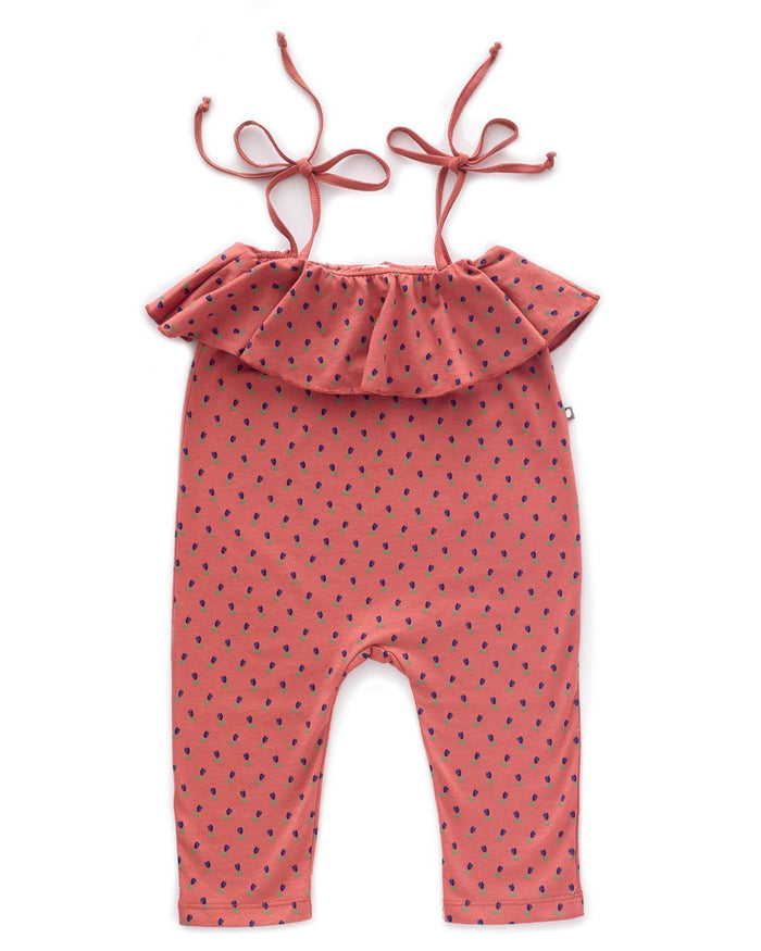 Little oeuf girl 2 ruffle jersey overall in rust + tulip