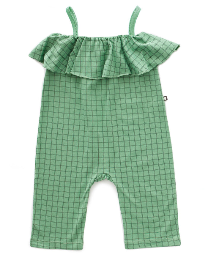 Little oeuf girl ruffle overall in green checks