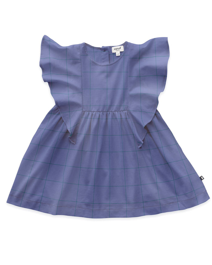 Little oeuf baby girl ruffle sleeve dress in iris + checks