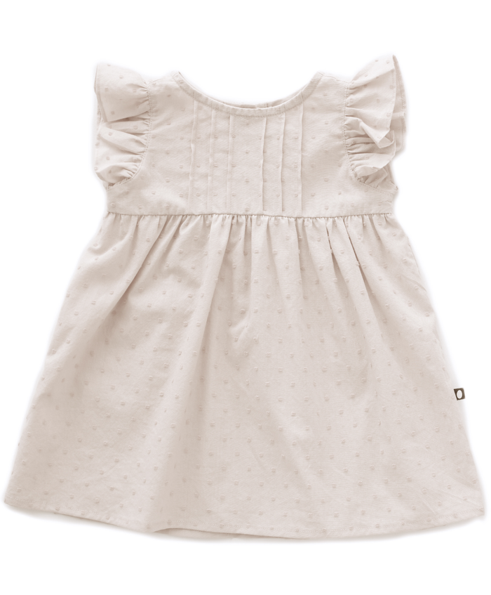 Little oeuf girl ruffle swiss dots dress in gardenia