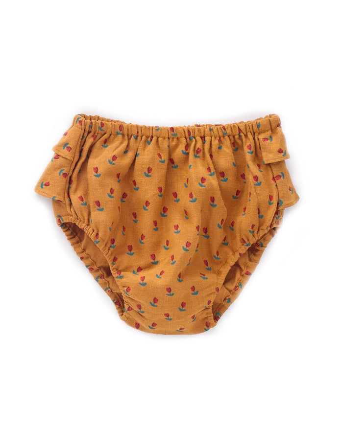 Little oeuf baby girl 6m ruffled bloomers in ochre + tulip