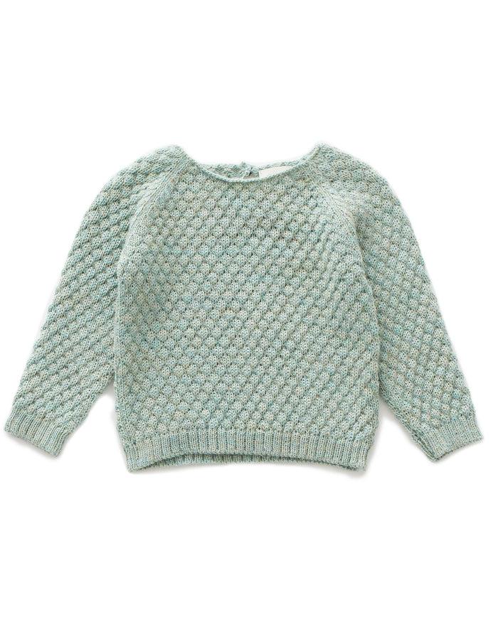Little oeuf girl sheep stitch sweater in ocean