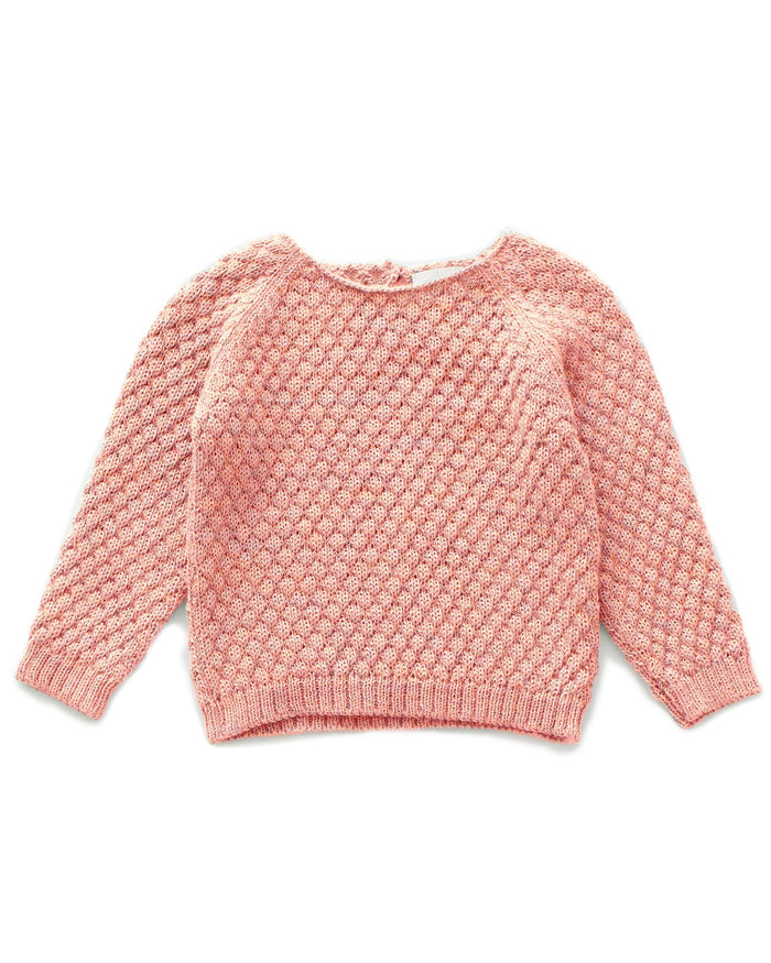 Little oeuf girl sheep stitch sweater in peony