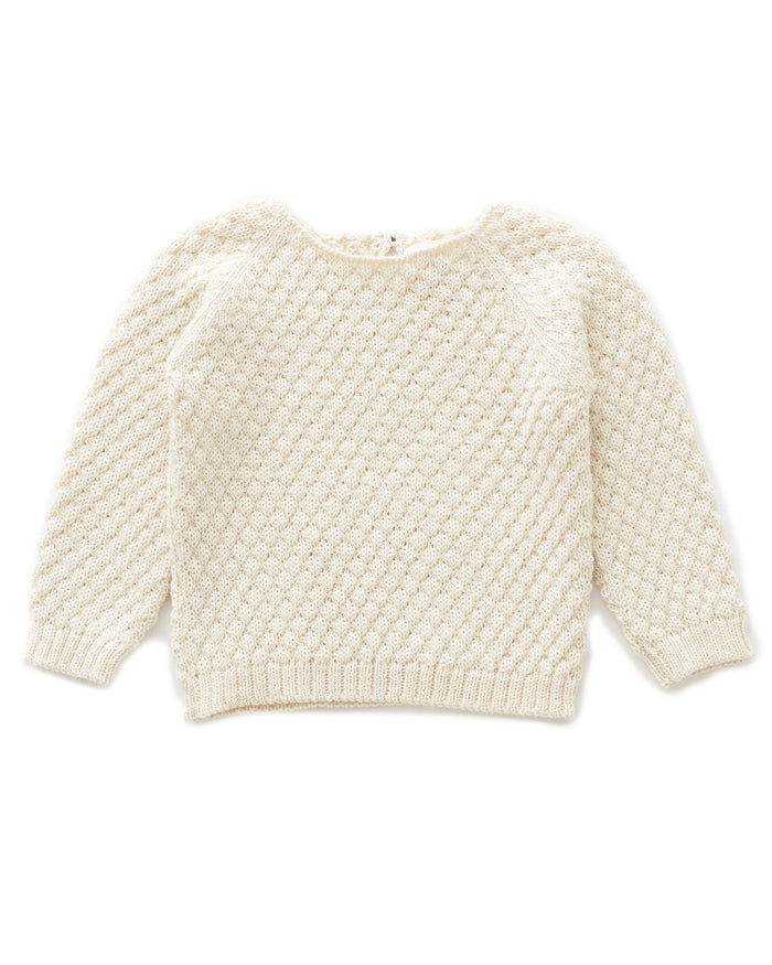 Little oeuf girl sheep stitch sweater in white