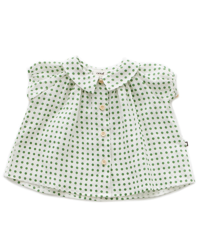 Little oeuf girl short sleeve blouse in green dots