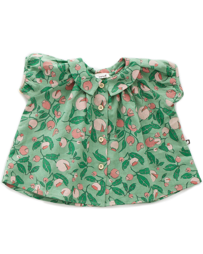 Little oeuf girl short sleeve blouse in green flowers