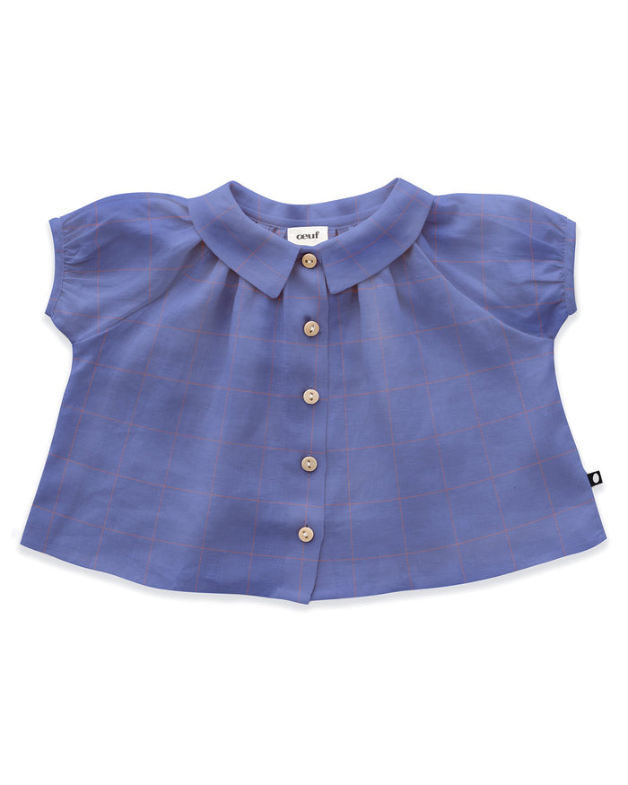 Little oeuf girl short sleeve blouse in iris + checks