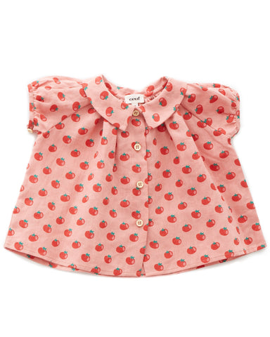 Little oeuf girl short sleeve blouse in tomato print