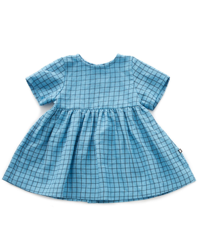Little oeuf girl short sleeve dress in blue checks