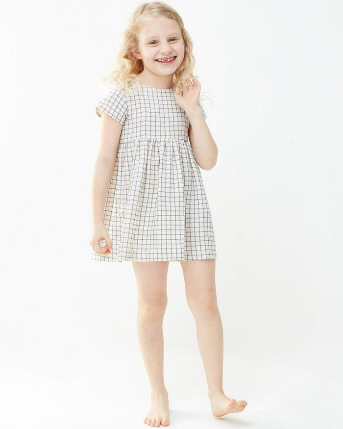 Little oeuf girl 2 short sleeve dress in blue checks