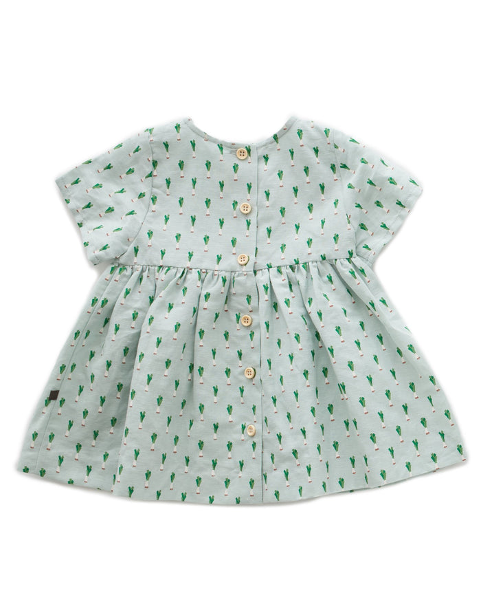 Little oeuf girl short sleeve dress in leek print