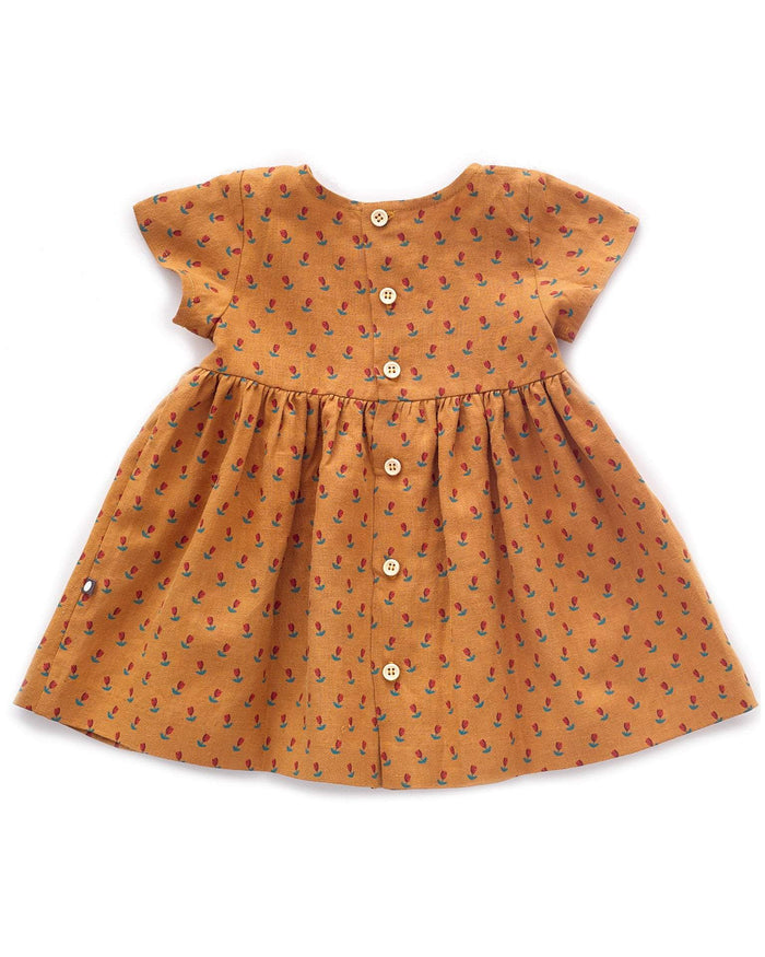 Little oeuf girl 2 short sleeve dress in ochre + tulip