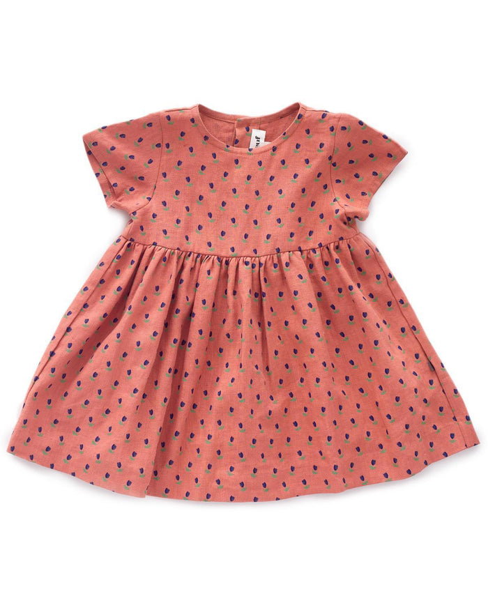 Little oeuf girl 2 short sleeve dress in rust + tulip