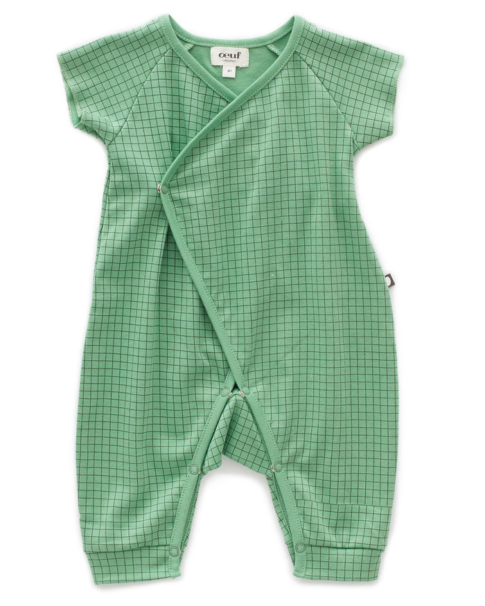 Little oeuf baby girl shorts sleeve kimono jumper in green checks