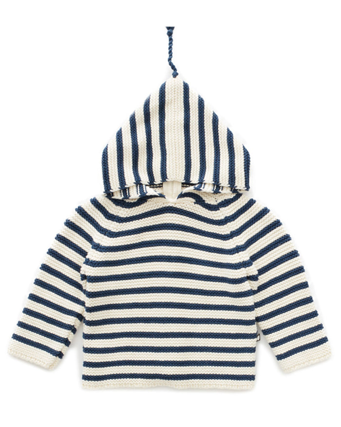 Little oeuf girl single layer hoodie in dark slate + white