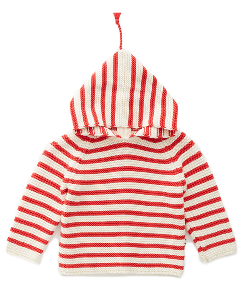Little oeuf girl single layer hoodie in red + white