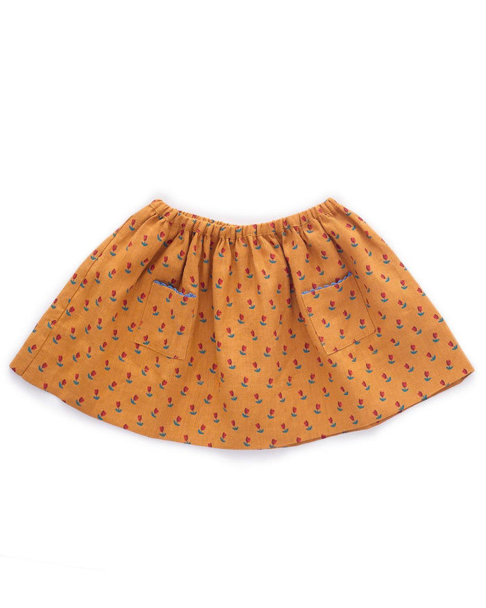 Little oeuf girl 2 skirt in ochre + tulip